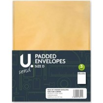 U Send Padded Envelopes - Size D - 26.5cm x 20cm - Pack of 3