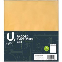 U Send Padded Envelopes - Size E - 26.5cm x 22cm - Pack of 3