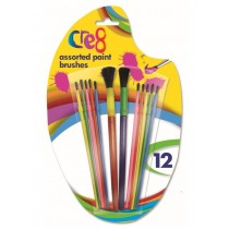 Paint Brushes For Artists - Assorted Sizes - Pack Of 12