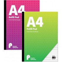 A4 Refill Pad - Feint Ruled And Margin - 2 Assorted Colours And Designs