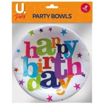 U Party Happy Birthday Party Bowls - Pack of 8