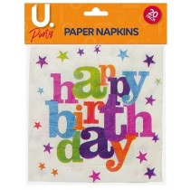 U Party Birthday Paper Napkins - Pack of 20