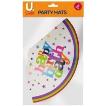 U Party Happy Birthday Party Hats - Pack of 8