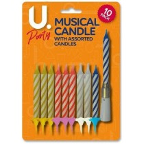 U Party Musical Candles - Pack of 10 - Assorted Colours