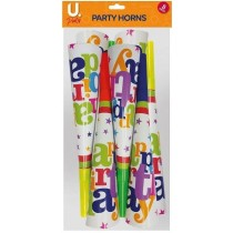 U Party Happy Birthday Party Horns - Pack of 8 - Assorted Colours