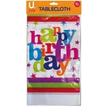 U Party Happy Birthday Table Cloth - 180cm x 120cm