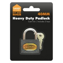 Large Size Heavy Duty Cast Iron Padlocks Including 2 Keys - 40Mm