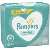 Pampers Sensitive Baby Wipes - Fragrance Free - Pack of 4 x 52 - Exp: 11/22