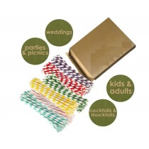 Eco-friendly, Non-toxic & Bio-degradable Paper Straws - Assorted Colours - Pack of 150
