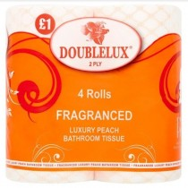 Double Luxury Fragranced Bathroom/Toilet Tissue Rolls - 2 Ply - Peach - Pack of 4 - Price Marked £1