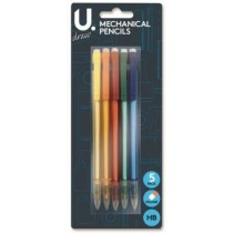 U Draw HB Mechanical Pencils with Eraser - Pack of 5 - Assorted Colours