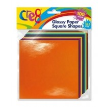 Cre8 Glossy Paper Square Shapes - 15.5cm - Assorted Colours - Pack of 100