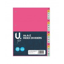 U File A4 A-Z Index Dividers - Pack of 20 - Assorted Colours