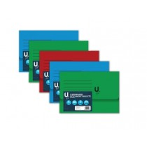 U File Cardboard Document Wallets - 35 x 24.5cm - Pack of 5 - 3 Assorted Colours