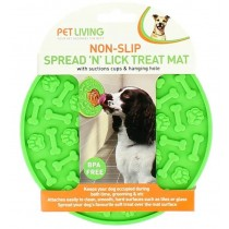 Pet Living Non-Slip Spread 'N' Lick Treat Mat with Suction Cups & Hanging Hole - Assorted Colours - 15cm