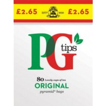 PG Tips Original One Cup Britain's No. 1 Tea - Pack of 80 Tea Bags - 232grams - Price Marked £2.65 - 0% VAT - Exp: 01/20