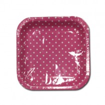 Small Polka Dot Disposable Square Paper Plates - 19Cm X 19Cm - Pack Of 12 - Colours May Vary