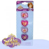 Disney Sofia Love Heart Plastic Rings - Pack Of 4 - Assorted Designs