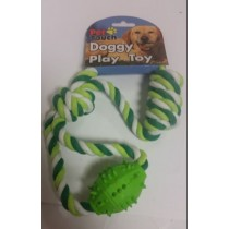 PLATED ROPE WITH RUBBER TOY FOR PET DOGS