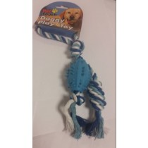 PLATED ROPE TOY WITH RUBBER BALL FOR PET DOGS
