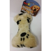 Squeaky Plush Bone Dog Toy - Assorted Colours