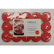Opella Fragranced/Scented Tea Lights / Candles - Pomegranate - Pack Of 15