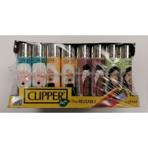 Clipper Classic Large Reusable Lighters - Portrait Girls - Assorted Colours & Designs
