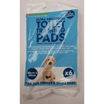 Pet Loving Ultra Absorbent Puppy Toilet Training Pads - 50cm x 40cm - White - Pack of 6