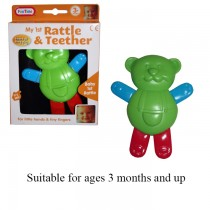 BABY TEDDY RATTLE AND TEETHER - BOXED