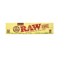 Raw Organic Hemp Natural Unrefined Hemp Rolling Papers Cones - Kingsize - Pack Of 32