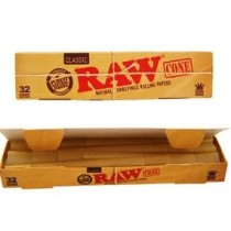 Raw Classic Natural Unrefined Rolling Papers Cones - Kingsize - Pack Of 32