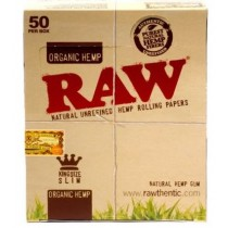 Raw Natural Unrefined Organic Hemp Rolling Papers - King Size Slim - Chemical And Chlorine Free - Box Of 50