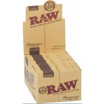 Raw Classic Natural Unrefined Rolling Papers + Tips - Connoisseur - 1 1/4 - Pack Of 24