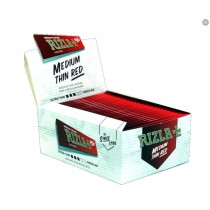 Rizla Cigarette Medium Thin Rolling Paper - Red - King Size - 50 Booklets
