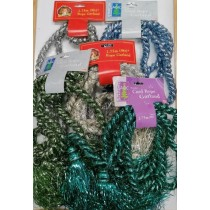 Christmas Magic Decorative Sparkling Cord Rope Garland with Tassels for Tree Decoration - Colours May Vary - 2.75m