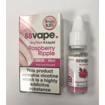 88 Vape Any Tank E Liquid - Raspberry Ripple - 50/50 Pg/Vg - 3Mg - 10Ml