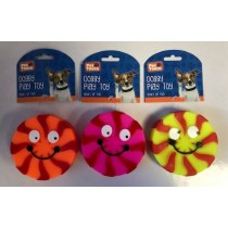 Pet Touch - Squeaky Doggy Play Toy Round Face - Colours Vary