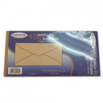 Supreme Manilla Dl Sized Envelopes - 110Mm X 220Mm - Pack Of 10