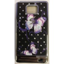 Samsung Galaxy S2 (i9100) Diamond Purple Butterfly Hard Back Case