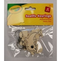 Crayola Wooden Keyrings - Sea Life - Assorted Shapes - Pack of 4