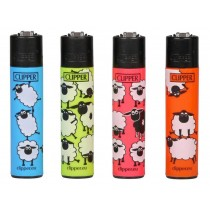 Clipper Classic Large Reusable Lighters - Sheep Fluo - Assorted Colours & Designs