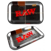 Small Raw Silver Metallic Metal Classic Authentic Rolling Tray - 17.5Cm X 27.5Cm