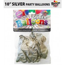 "Bingo Traditional Large Latex Balloons - 10"" - Pack of 16 - Silver"