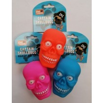 Pet Touch Captain Skull Dog Squeaky Dog Toy - 10cm x 7cm - Assorted Colours