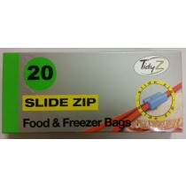 Tidyz Food And Freezer Resealable Slide Zip Bags - Pack Of 20