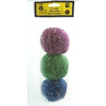 Sparkle Plastic Scrubbers for Kitchen or Bath - Pack of 3 - Assorted Colours - Price Marked $1