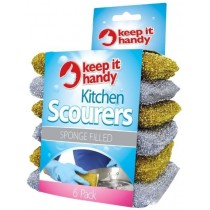 Sponge Filled Washing Up Scourers - Pack of 6