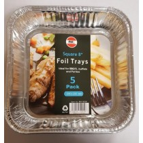 DISPOSABLE SQUARE FOIL TRAY - 8 INCH - 205 x 205mm - PACK OF 5