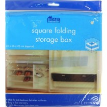 Square Folding Storage Box - Assorted Colours - 26 X 26 X 26Cm
