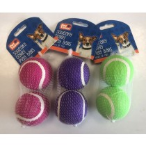 Pet Touch Squeaky Doggy Play Tennis Balls - 6cm - Pack of 2 - Colours May Vary